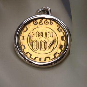 NWT Sterling 200 Italian Lire Coin Pendant